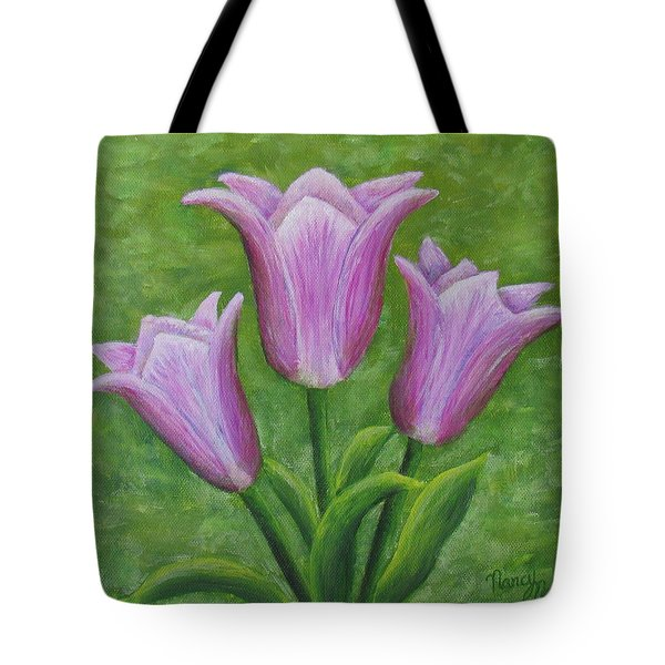 Tote Bag featuring the painting Three Pink Tulips by Nancy Nale