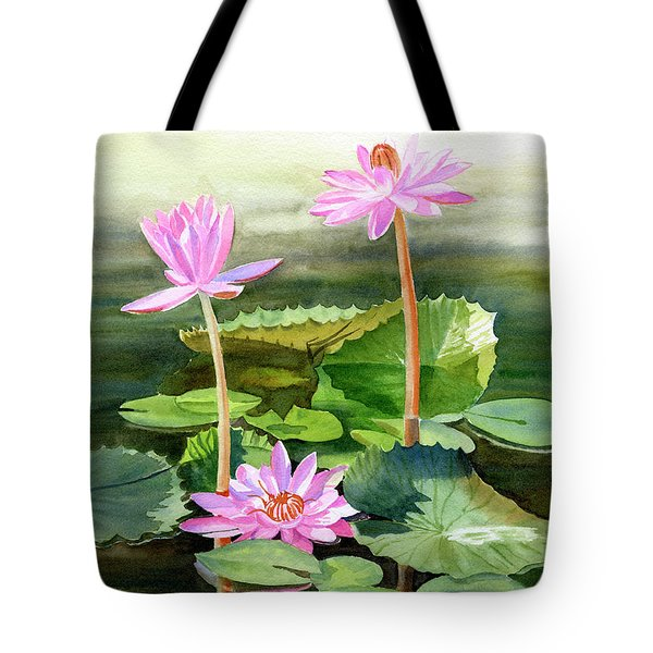 Three Pink Water Lilies With Pads Tote Bag