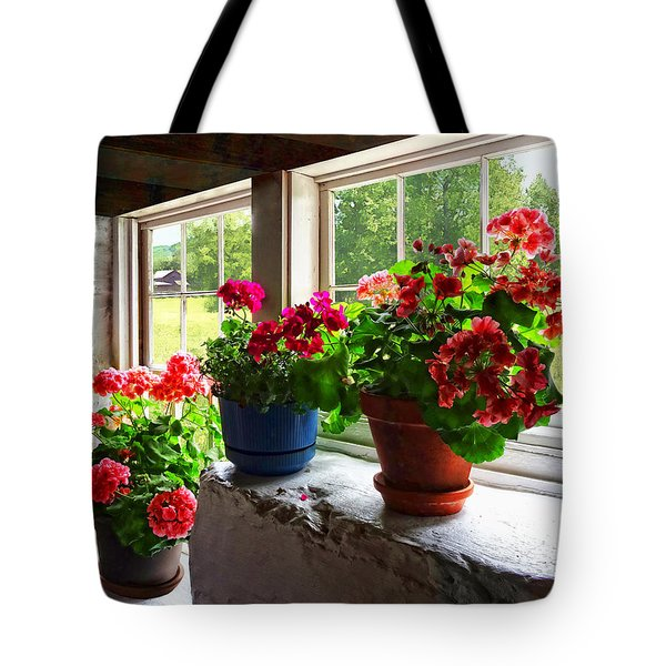 Three Pots Of Geraniums On Windowsill Tote Bag