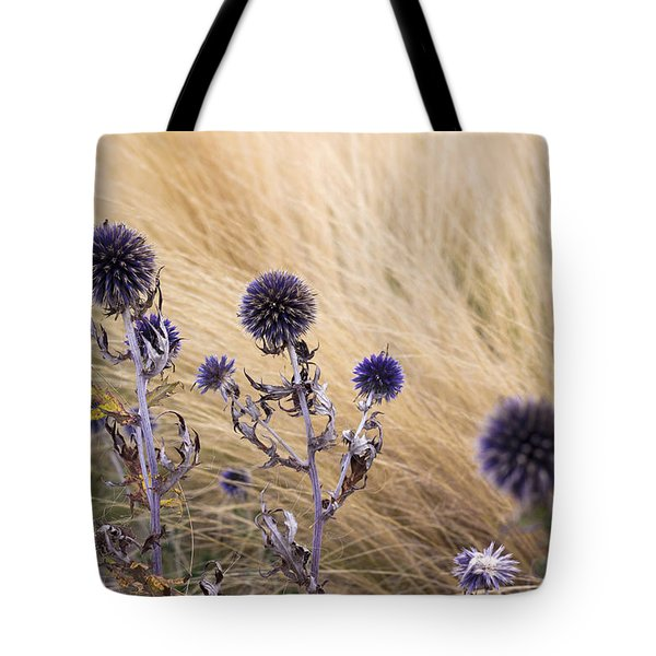Three Purple Echinops Tote Bag by Helga Novelli