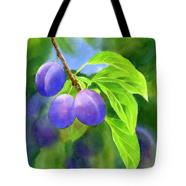 Three Purple Plums With Background Tote Bag by Sharon Freeman