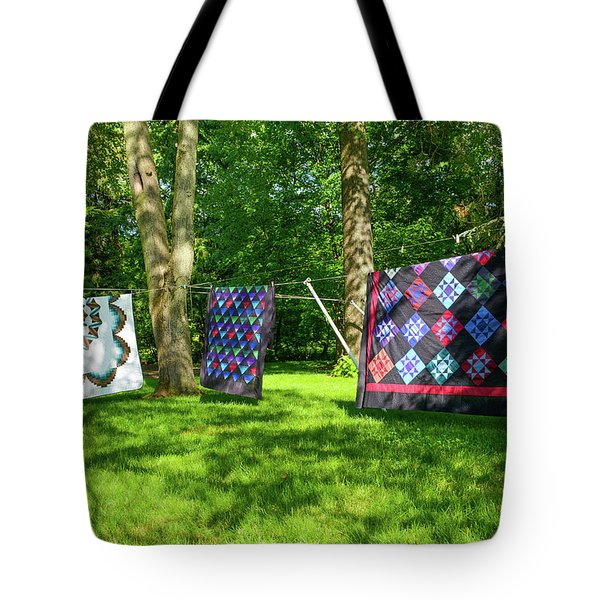 Three Quilts In The Breeze Tote Bag