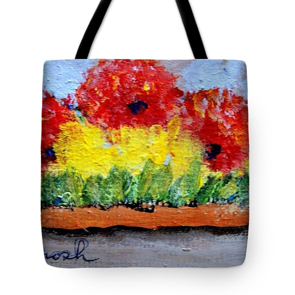 Three Red Flowers Tote Bag