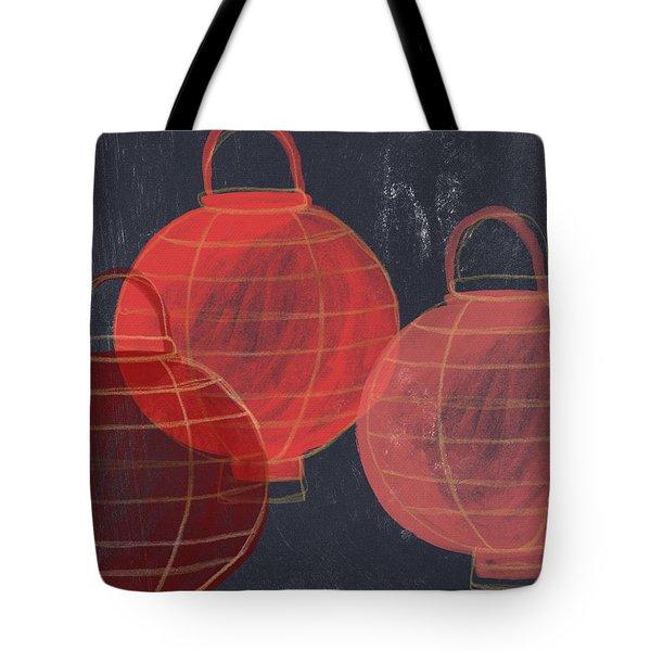 Three Red Lanterns- Art By Linda Woods Tote Bag