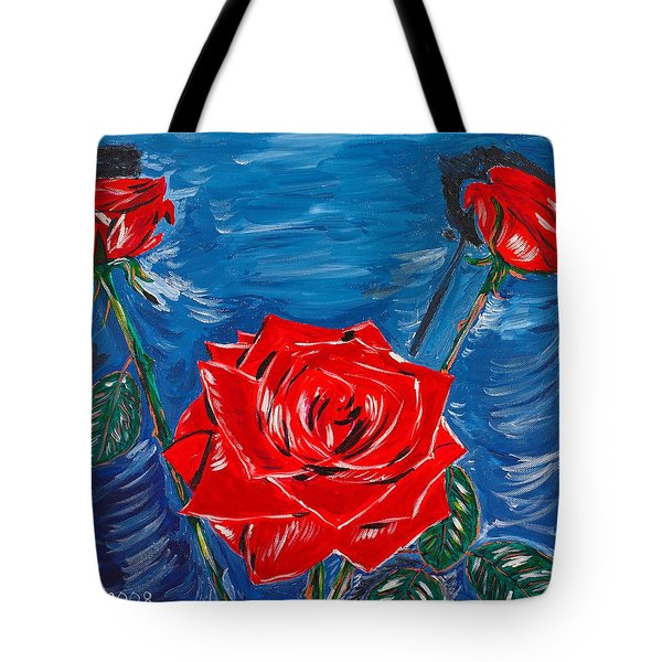 Three Red Roses Four Leaves Tote Bag by Valerie Ornstein