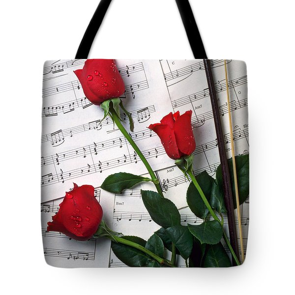 Three Red Roses  Tote Bag by Garry Gay