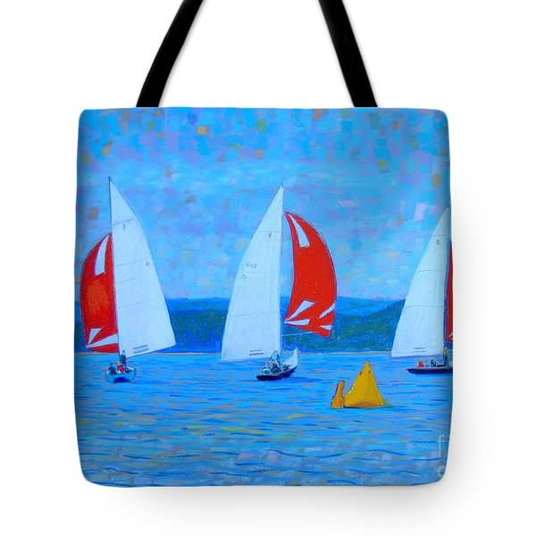 Three Red Sails  Tote Bag