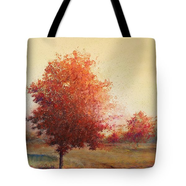 Three Red Trees Tote Bag