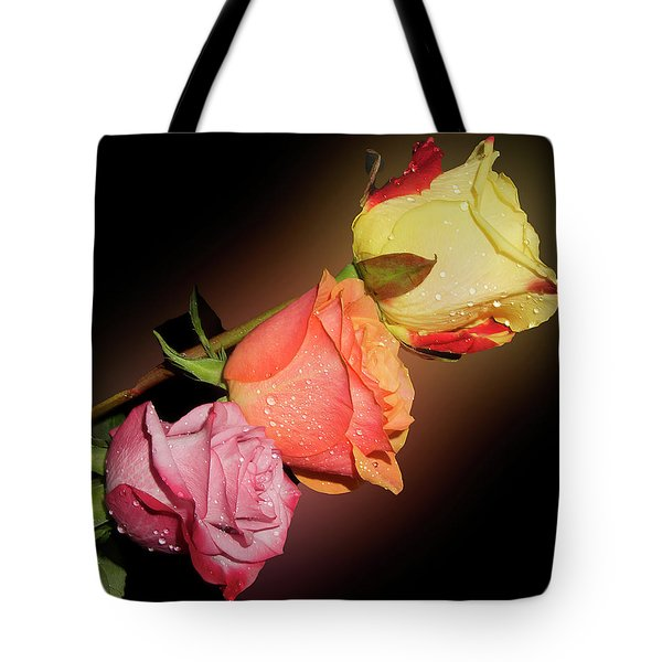 Tote Bag featuring the photograph Three Roses by Elvira Ladocki
