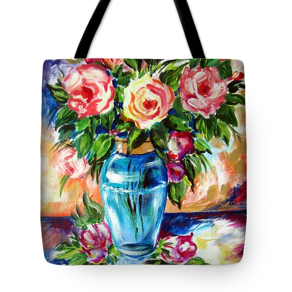 Three Roses In A Glass Vase Tote Bag