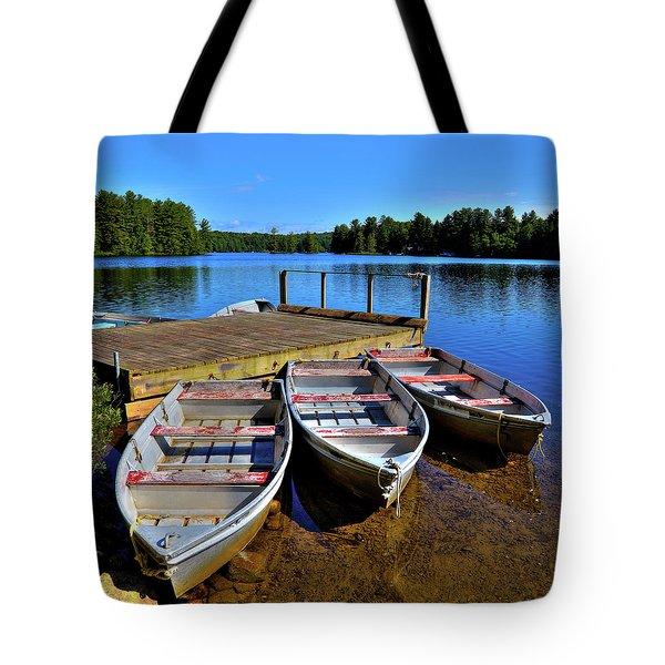 Three Rowboats Tote Bag by David Patterson