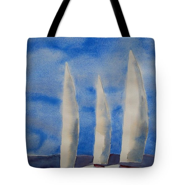 Three Sails Tote Bag by Patricia Caldwell