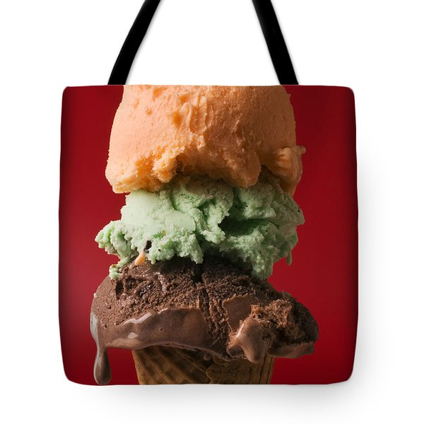 Three Scoop Ice Cream On Red Background Tote Bag by Garry Gay