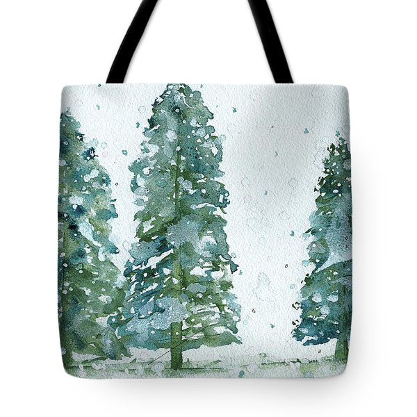 Three Snowy Spruce Trees Tote Bag