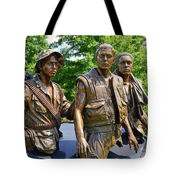 Three Soldiers Monument Tote Bag