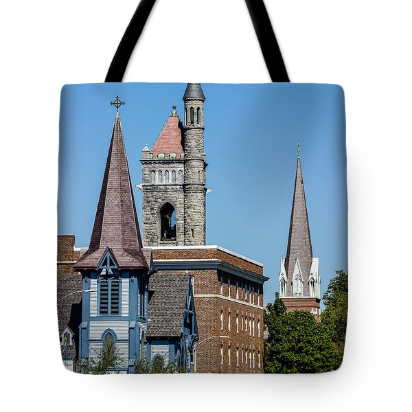 Three Steeples Of St Johnsbury Vermont Tote Bag by Tim Kirchoff