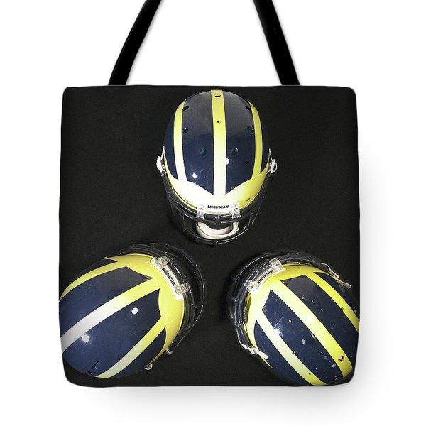 Three Striped Wolverine Helmets Tote Bag