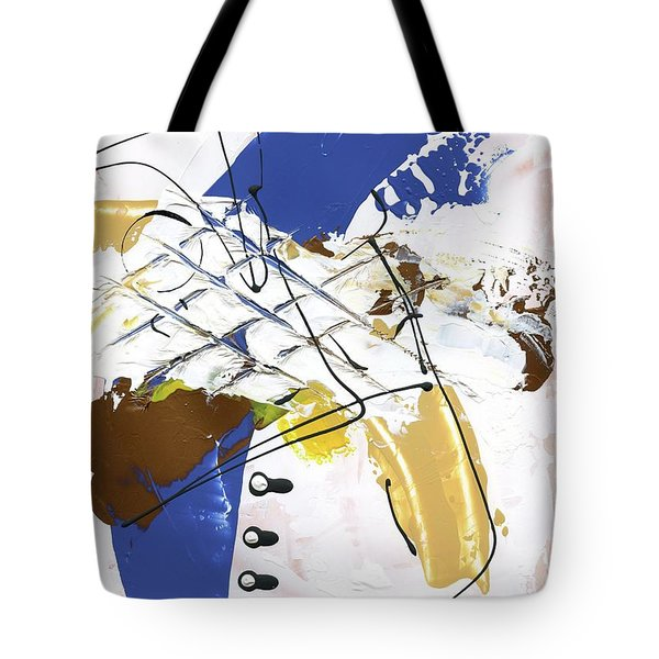 Tote Bag featuring the painting Three Color Palette Blue 3 by Michal Mitak Mahgerefteh