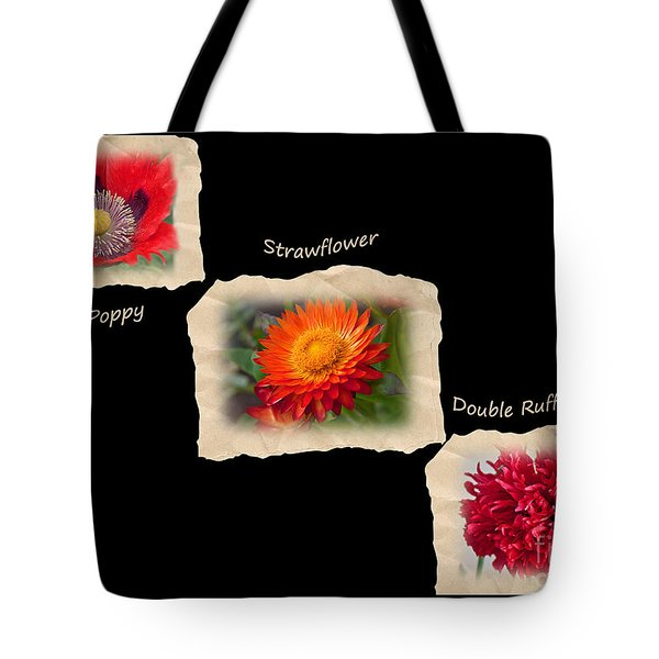 Tote Bag featuring the photograph Three Tattered Tiles Of Red Flowers On Black by Valerie Garner