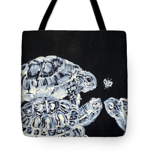 Tote Bag featuring the painting Three  Terrapins And One Fly by Fabrizio Cassetta