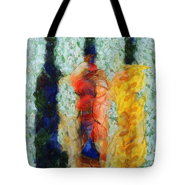 Tote Bag featuring the painting Three Times A Bottle Lady by Sir Josef - Social Critic - ART