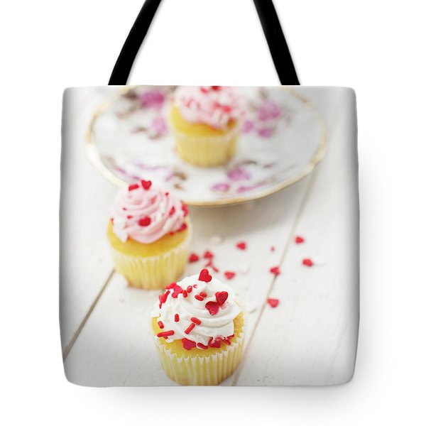Tote Bag featuring the photograph Three Tiny Cupcakes by Rebecca Cozart