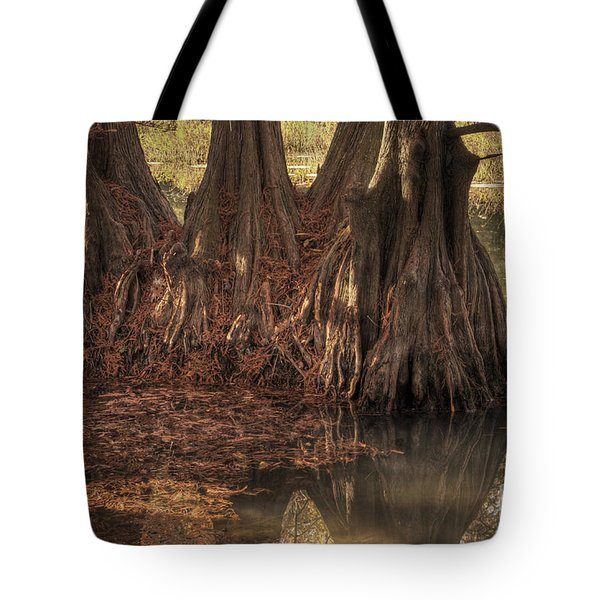 Tote Bag featuring the photograph Three Trees In Lake Murray by Tamyra Ayles