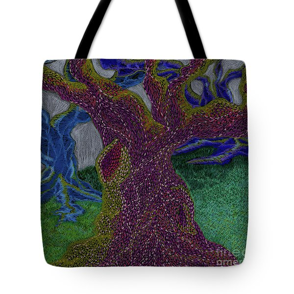 Tote Bag featuring the drawing Three Trees by Kim Sy Ok