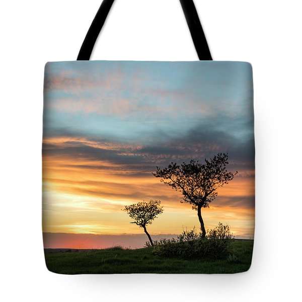 Three Trees On A Hill Tote Bag