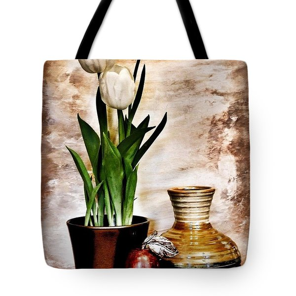 Three Tulips Pottery And Pear Tote Bag by Marsha Heiken