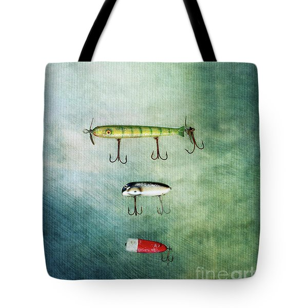 Three Vintage Fishing Lures Tote Bag