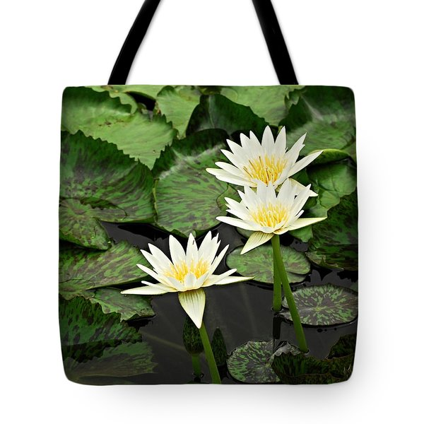 Three Water Lilies Tote Bag