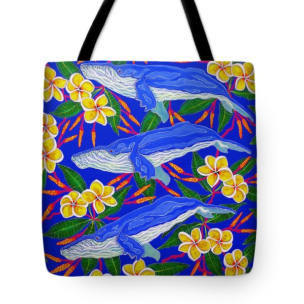 Tote Bag featuring the painting Three Whales  by Debbie Chamberlin