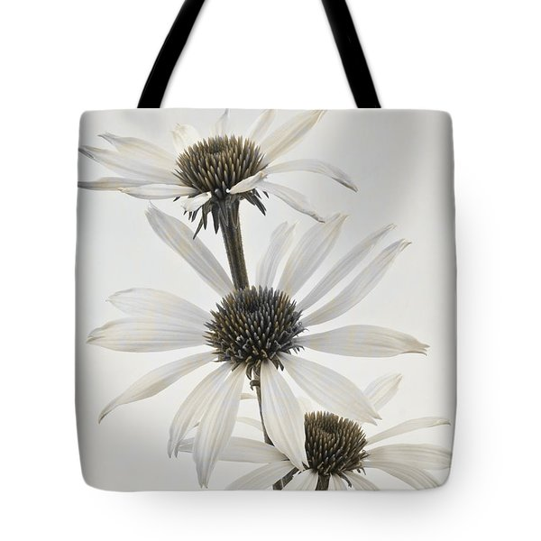 Three White Coneflowers Tote Bag by Sandra Foster