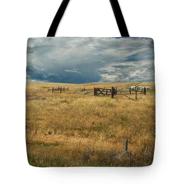 Three White Horses And Corral Tote Bag