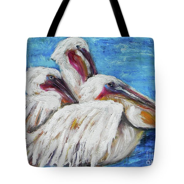 Three White Pelicans Tote Bag