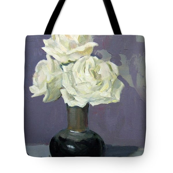 Three White Roses,abstract Background Tote Bag