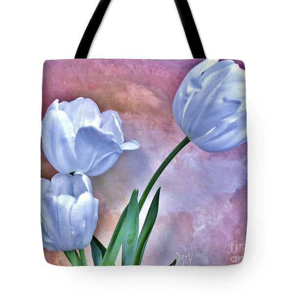 Three White Tulips Tote Bag