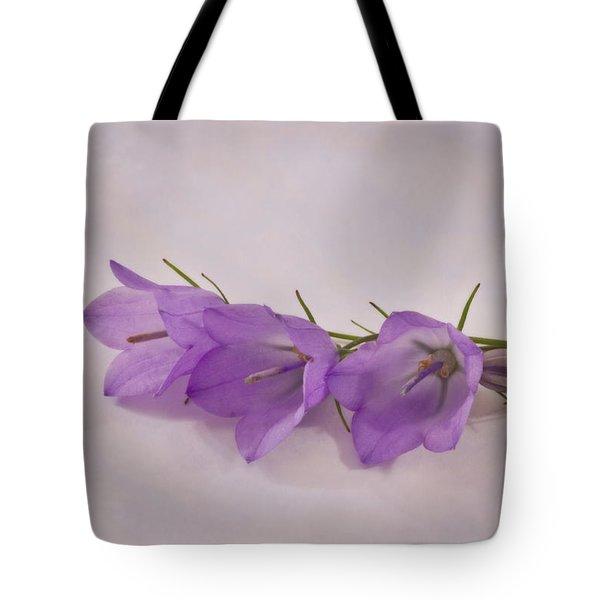 Three Wild Campanella Blossoms - Macro Tote Bag