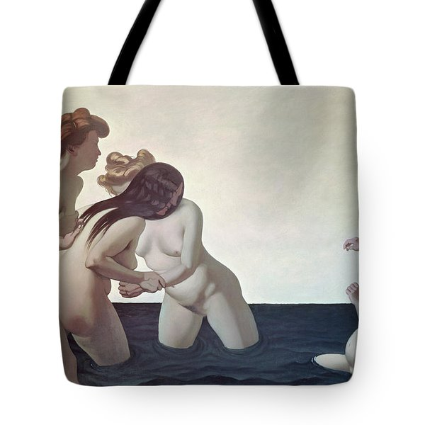 Three Women And A Young Girl Playing In The Water Tote Bag by Felix Edouard Vallotton