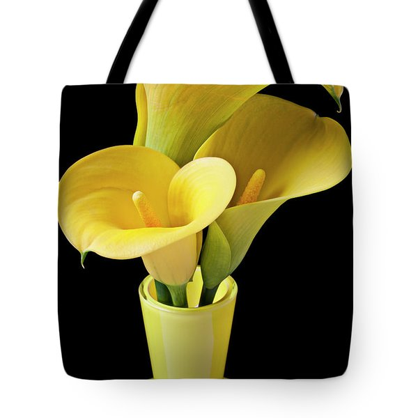 Three Yellow Calla Lilies Tote Bag by Garry Gay