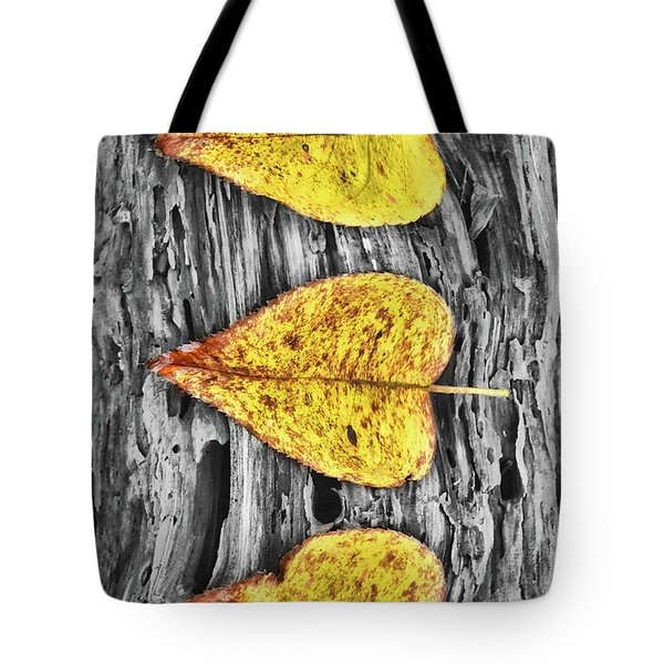 Three Yellow Leaves Tote Bag