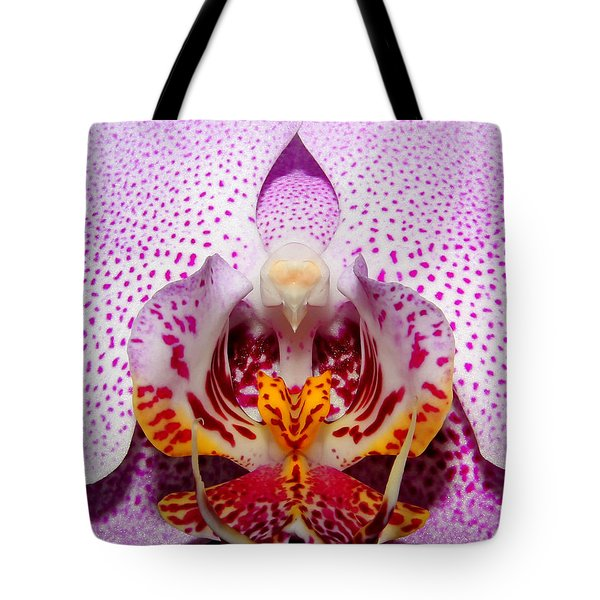 Tote Bag featuring the photograph Throat Of An Orchid by Judy Vincent