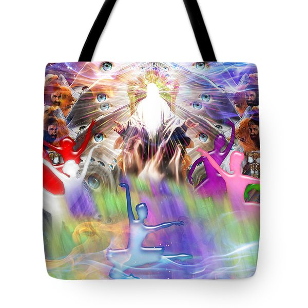 Tote Bag featuring the digital art Throneroom Dance by Dolores Develde