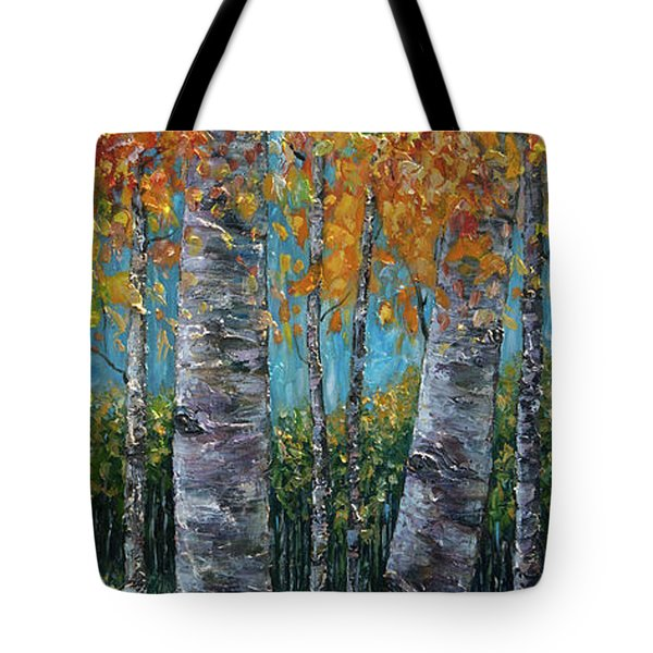 Through The Aspen Trees Diptych 1 Tote Bag