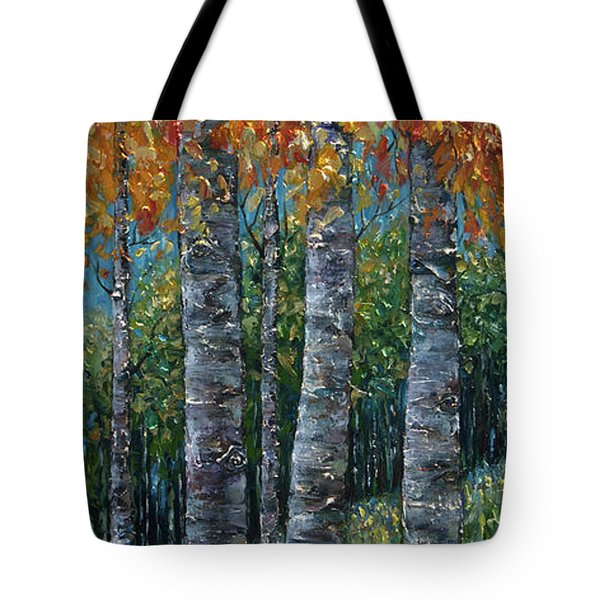 Through The Aspen Trees Diptych 2 Tote Bag