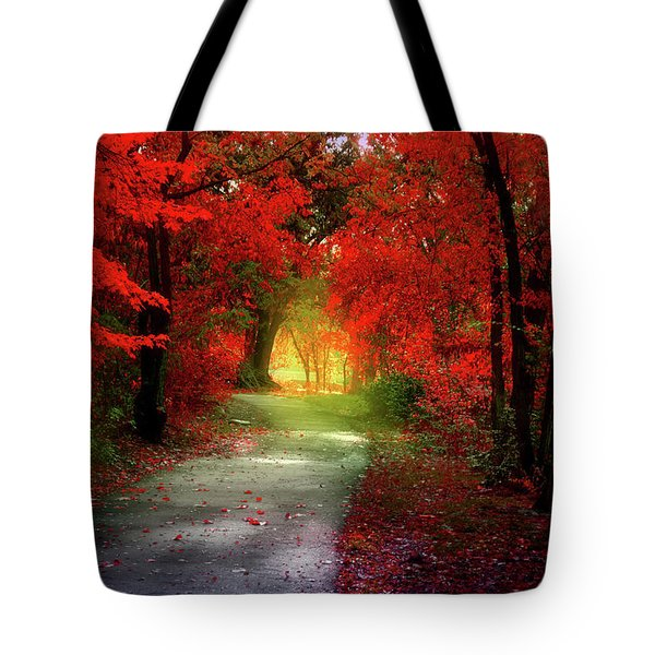 Through The Crimson Leaves To A Golden Beginning Tote Bag