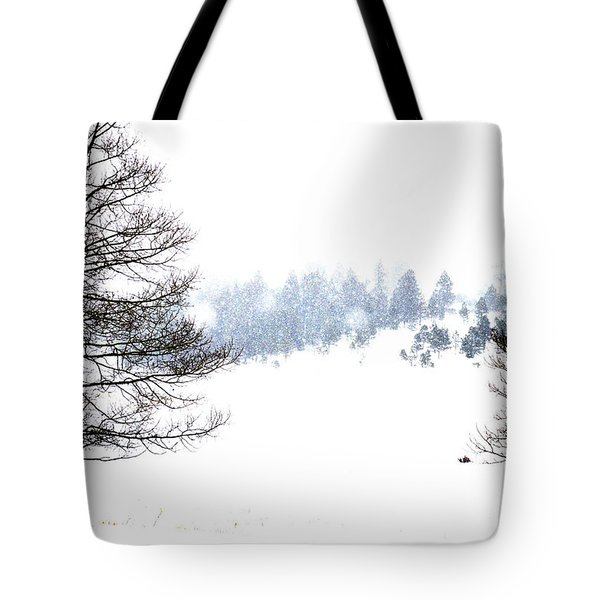 Through The Falling Snow Tote Bag