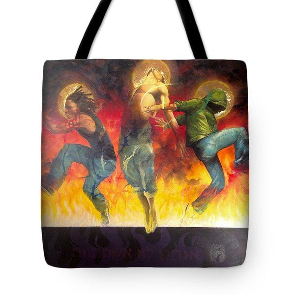 Tote Bag featuring the painting Through The Fire by Christopher Marion Thomas