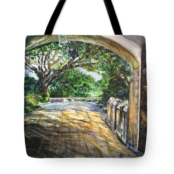 Tote Bag featuring the painting Through The Gate by Belinda Low